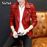 The young man short personality leather jacket trend in spring and summer. The locomotive leisure jacket thin handsome