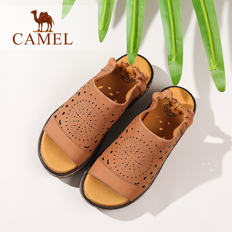 Camel women's shoes Summer new flat sandals Hollow fashion leather elastic band with sandals women