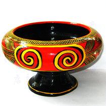 Sichuan Daliang Shanxi Changyi folk lacquerware tableware Painted handicrafts Characteristic large wooden Ke soup bowl soup basin