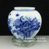 Jingdezhen Ceramic Porcelain High-grade Hand-painted Blue and White Glaze with Rich Peony Painted inside and outside