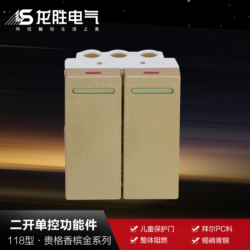 Longsheng flagship switch socket concealed type 118 V98 (champagne gold) two billing control switch function keys