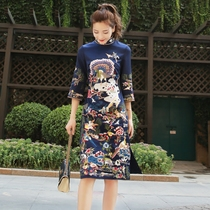 Vintage embroidery stand collar Chinese style improved ladies cheongsam dress