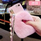Hot Apple 6 phone shell Rex rabbit fur female luxury pearl lanyard plush tassel iphone6splus hand