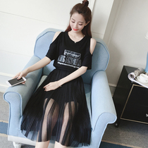 New pleated mesh short sleeve t shirt blouse dress long shoulder PERIARTHRITIS in two-piece dress suits p65