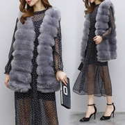 Fall 2017 Couture loose Faux Fur Vest and V collar sleeveless long paragraph imitation fur