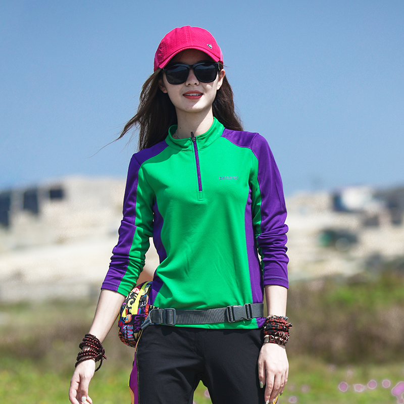 Outdoor fast-drying womens long-sleeved T-shirt top trim body thin sun-sucking breathable sports mountaineering hiking