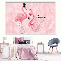 Wallpaper Self-adhesive Bedroom Wall Painting Nordic Ins Flamingo Wall Painting Girl Heart Bed Net Red Background Wall Decoration