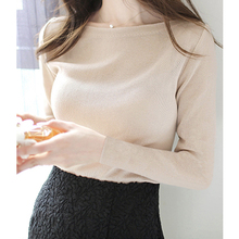 Long Sleeve T-shirt Women Fall 2019 New Type One-collar Slim Slim Leisure Ladies Bottom Shirt Top Knitted Shirt