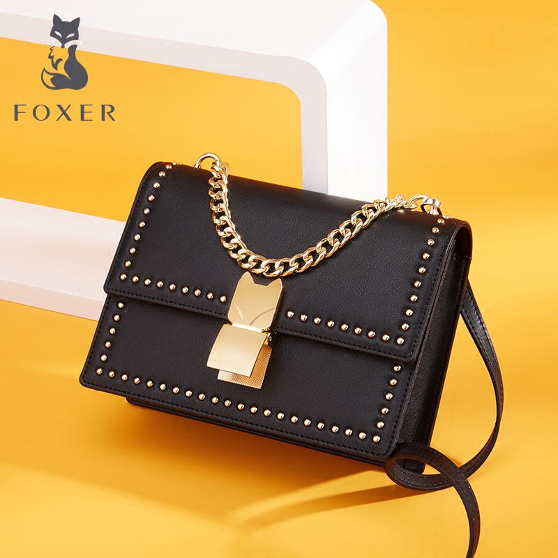 Golden Fox Crossbody Female 2018 New Korean Rivet Mini Square Bag Simple Wild Handbag Shoulder Bag