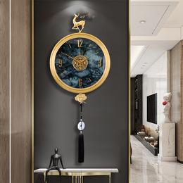 纯铜钟表挂钟客厅家用时尚时钟现代轻奢客厅创意个性新中式石英钟