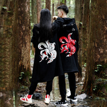 Chinese style casual retro teen couple embroidery coat
