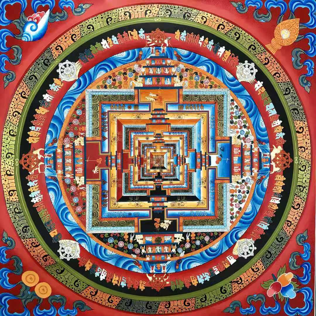Nearly a meter when the wheel of king kongtan city Tangka Tibet hand-painted Nepal living room Xuanguan town 闢 evil decorative paintings