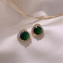 Green stud female sterling silver advanced sense temperament simple and compact 2021 new fashion minority design sense earrings