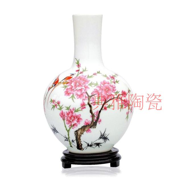Jingdezhen ceramics water point peach flower celestial vase Chinese classical ceramic ornament antique crafts