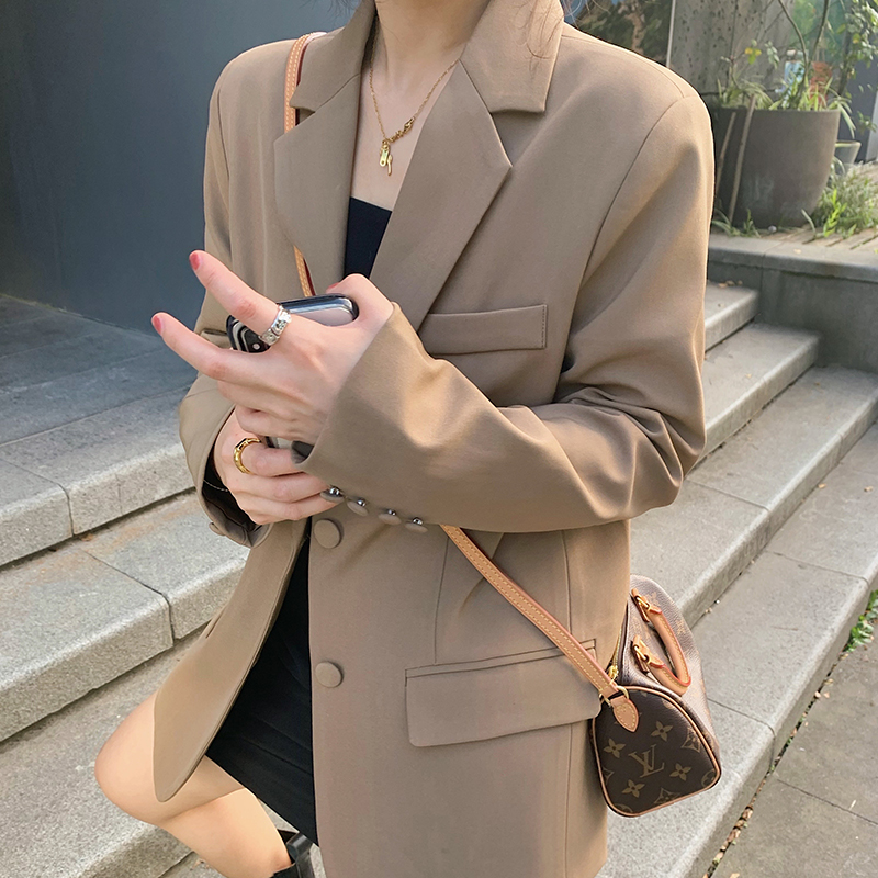 Halo nini suit top 2021 new autumn Korean version loose wild brown casual blazer women