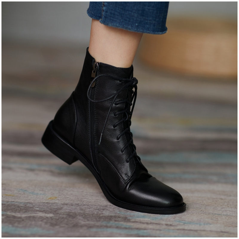 Martin boots women's 2020 autumn shoes and winter new all-match black and velvet British style boots leather flat ankle boots