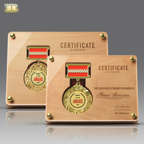 Creative high-end solid wood medal set to make a metal badge medal of honor wooden licensing card certificate