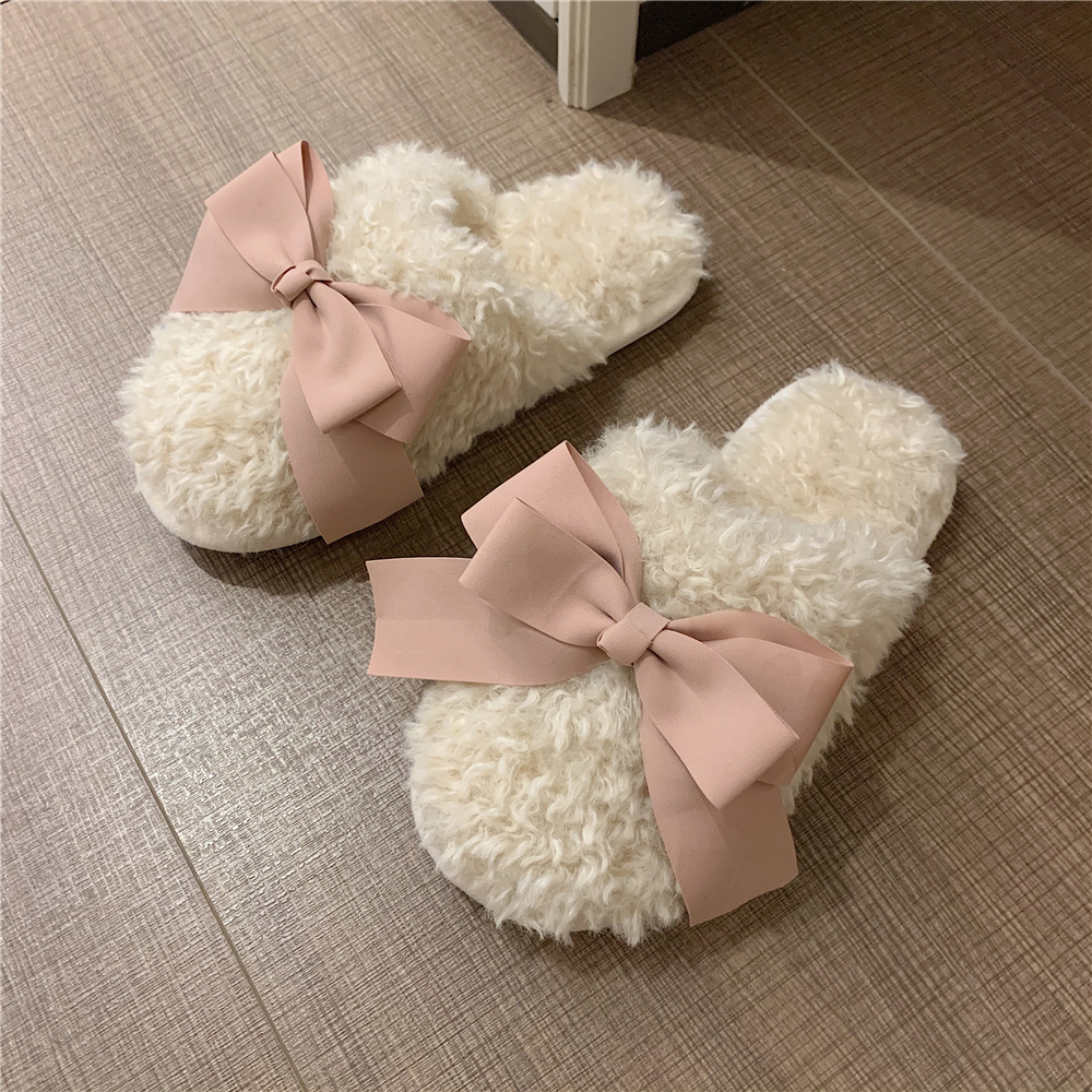 Fine strip net red ins wind girl heart bow hair slippers womens winter home non-slip cute cotton slippers