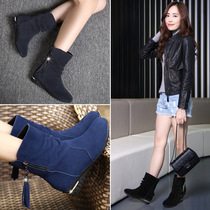 2016 new autumn and winter women's boots matte leather flat boots with leather boots fringed flat boots single large size