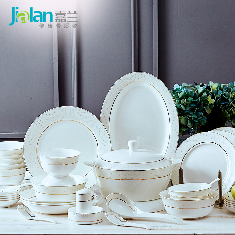 Jialan bone china cutlery set dishes plate European-style Phnom Penh ceramics Tangshan 56 pieces household dish combination