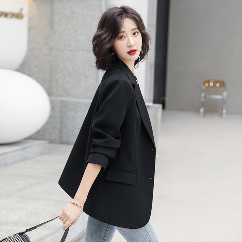 Small blazer womens 2021 spring and autumn new small black casual net red fried street suit womens top