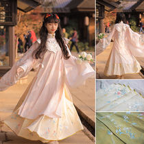 Mountain Qing LAN Qingshui Xi Han early original Ming Han Clothing Womens heavy flower embroidery horse skirt two colors