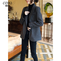 Hepburn style double-sided cashmere coat women 2021 autumn and winter New Korean loose medium and long check suit jacket