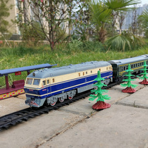 Simulation super long railway track small train model toy track Green leather Dongfeng 11 lion internal combustion engine for children and girls