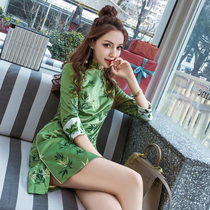 Chinese style retro ladies embroidered seven-point sleeve Chinese cheongsam dress