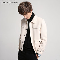 Autumn and winter double cashmere wool youth woolen rice white jacket