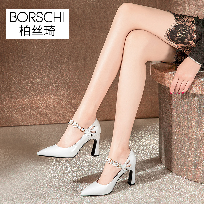 Bai Siqi Single Shoe Female 2009 New Spring and Summer Fashion Female with One Word Button High-heeled Shoes and White Lacquer Tips