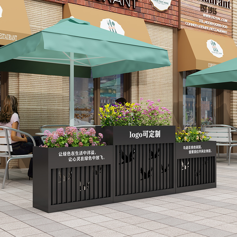 Iron flower box combination sales department stainless steel flower slot commercial street square marketing center outdoor planting box fence