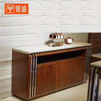 Modern fashion natural stone marble dining cabinets affixed with walnut solid wood food side cabinets tea water cabinet Wine cabinets I23