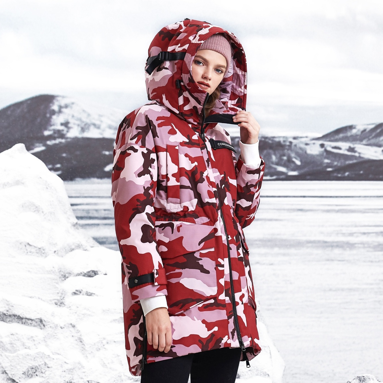 (Bosden) winter clothes new goose down camouflage clothing fashion stitching personality thick warm down jacket womens