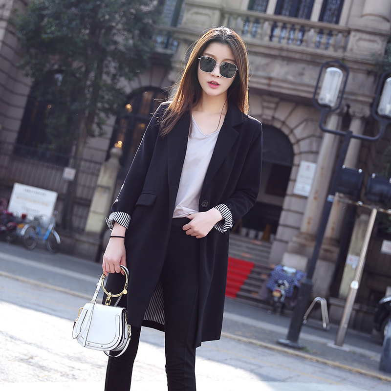 Black blazer womens 2021 spring and autumn new design sense niche medium and long net red casual suit top