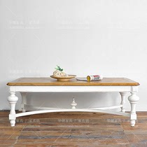 American country house living room rectangular solid wood coffee table 1.2 meters coffee table white retro do old dress