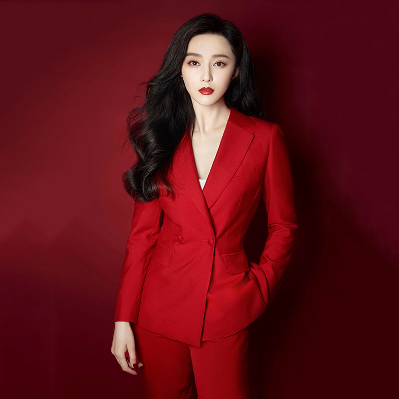 Red suit suit womens spring 2020 new Korean version of small fragrance fashion temperament professional small suit two-piece set