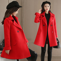 Autumn and winter red woollen back party birthday dress