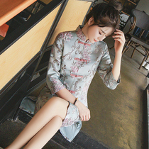 Autumn and winter Chinese style retro fashion seven sleeve modified cheongsam
