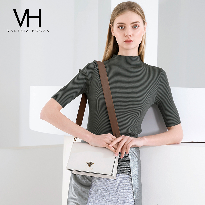 VH Women's Bag Recreational Trend Single Shoulder Bag 2019 New Fashion Bee Broad Shoulder Belt Bag Slant Bag Fairy Square Bag