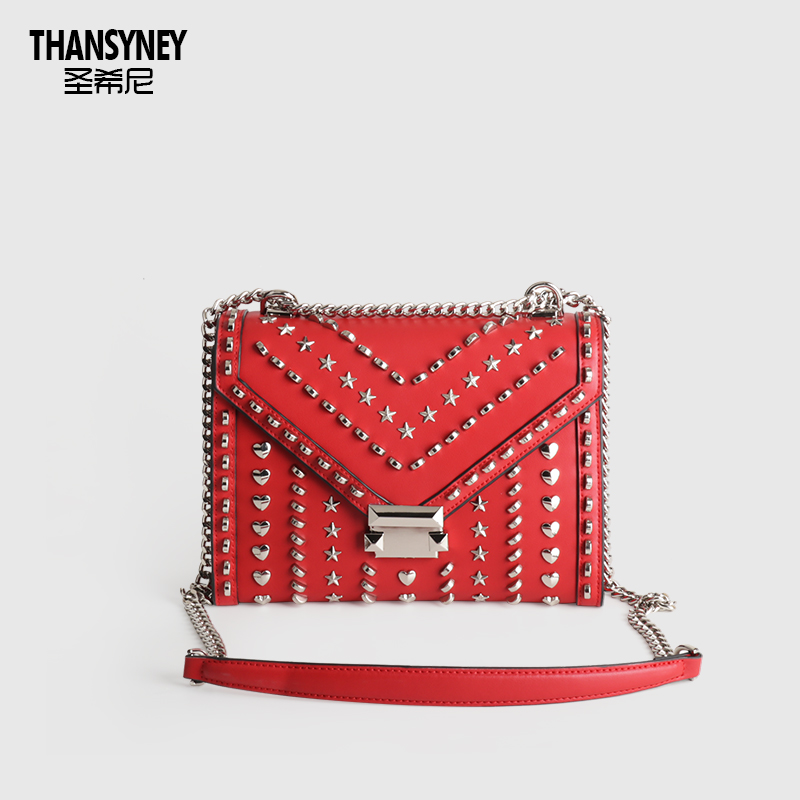 New Style of Saint-Heaney Bag Girl Bag 2019 Slanting Star One-shoulder Envelope with Real Leather Tanabata Rivet Chain