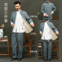 Tong dress male middle-aged cotton suit Chinese youth Han suit Zhongshan suit Esh clothing Chinese wind long sleeve three-piece set