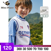 minipeace taiping bird childrens wear boys head hair vest spring new childrens sports wind embroidered vest