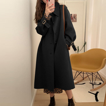 Off-season clearance 2021 autumn and winter long over-the-knee wool coat Small double-sided wool coat Hepburn wind