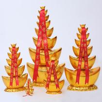Simulation of Jinyuanbao plastic hollow Yuanbao pagoda into treasure Spring Festival decoration decoration living room creative gathering financial ornaments
