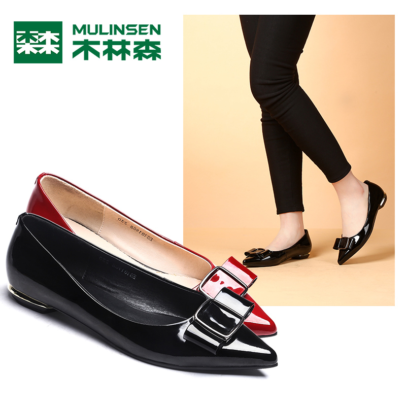 Mulinsen women's shoes 2018 spring new simple fashion pointed low-heeled shoes comfortable ladies shallow mouth shoes