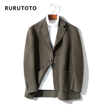 Autumn and winter new wool coat mens double-sided short cashmere jacket small suit Korean version wool business suit man