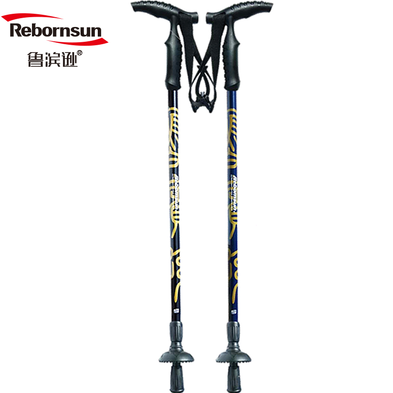 Robinson Climbing Cane Carbon Ultra Light Cane Two Anti-skid Crutches Old People's Cane Flow Gold Old People's T-handle Crutches