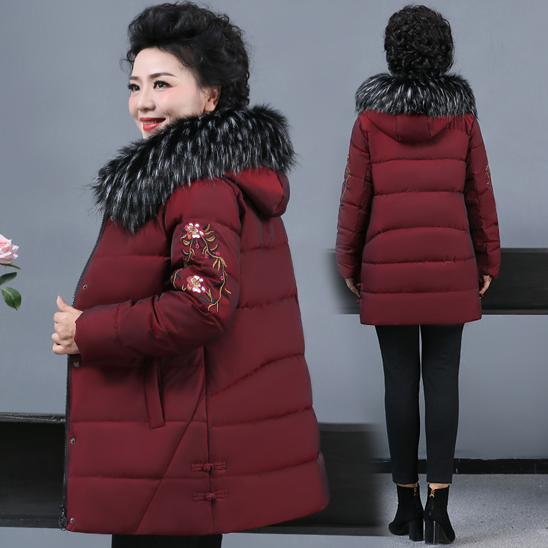 Middle-aged mother autumn and winter clothing medium-long version of cotton clothing women plus fattening plus size cotton wool coat in the elderly down cotton clothing