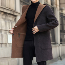 Wear a hooded double-sided coat on both sides of the long version of the thick coat 2020 autumn winter mens wool windshield